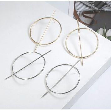 Big Round Alloy Earrings in Silver and Gold