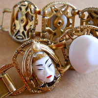 SELRO Thai Bracelet Asian Princess, White Cabochons, Vintage