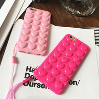 Candy Color Plating Pink Heart Jelly Soft Phone Case Soft Silicone Lovers Case For iphone 7 Plus 6 6s 6 Plus Back Cover Fundas