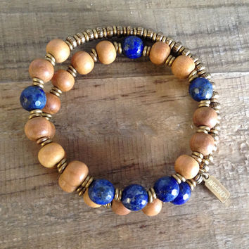 "Sandalwood and Lapis Lazuli ""Sixth Chakra"" 27 Beads Wrap Mala Bracelet"
