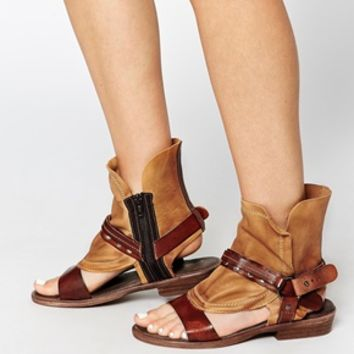 Free People Cut Out Leather Boot Flat Sandal