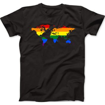 Pride World Map Mens 100% Cotton T-Shirt
