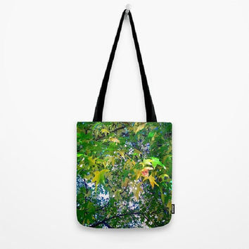 Leaves, Trees, Emerald Green, Yellow - Tote Bag - 3 Sizes Available - Baby Shower, Grocery, Beach, Busy Mom, Student - Made To Order - ES#27