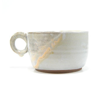 Pottery latte cup with handle, stoneware tea cup, ceramic latte cup, clay mug, handled cup, oversize mug, drip glaze pottery