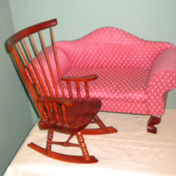 Vintage Kingstate The Dollcrafter Couch and Rocking Chair Doll Furniture