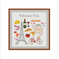 Paris cross stitch, French cross stitch, Eiffel tower, French coffee, French wine, Croissant, Red bicycle, Paris motifs, Welcome to Paris