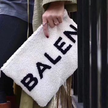 """Balenciaga"" Casual Simple All-match Fashion Letter Logo Plush Women Zip Clutch Envelope Bag"