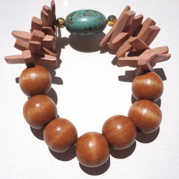 Wooden Bracelet Natural Color Big Beads Turquoise Stone  Silicone Elastic Woman Girl Handmade Summer Modern Fashion Gift Gold Semi Precious