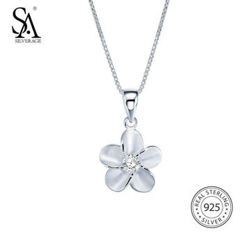 SA SILVERAGE 925 Sterling Silver Sakura Flower Long Necklaces for Women Cherry Blossoms Necklaces & Pendants With Cubic Zircon