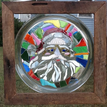Stained Glass Santa Winow Art Sun Catcher Christmas Decor, Unique gift idea, Hostess Gift, Barn Wood Frame. Handmade