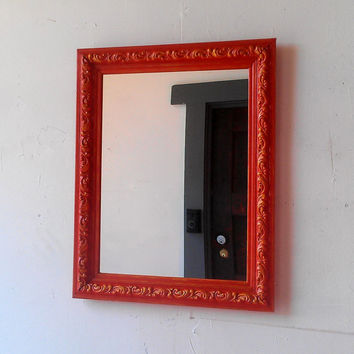 Large Wall Mirror in Blood Orange and Saffron Yellow 19 by 15 inches
