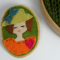 Autumn Lady with Pink Heart Felt Brooch, Fabric Flower Brooch, Embroidered Felt Brooch