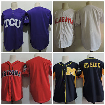 Cheap 2017 Alabama Crimson Tide Arizona Wildcats Michigan Wolverines College Baseball Jerseys Blank TCU Horned Frogs University Sales