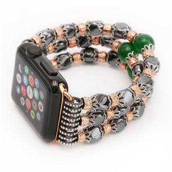 Handmade Elastic Stretch atural Hematite Bracelet Replacement iWatch Strap Apple Watch Band