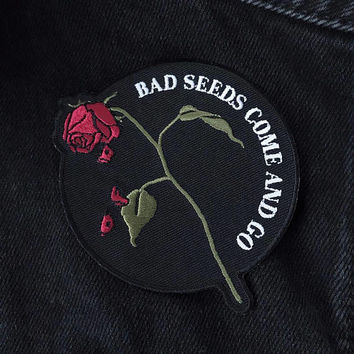 Bad Seeds Patch by LifeClub - embroidered patch, iron on patch, patches, rose, roses, denim jacket, leather jacket, patches for jackets, pin