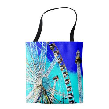 fun fair in amsterdam ferris wheel and high tower tote bag