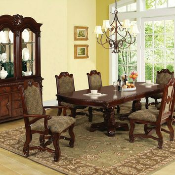 7 pc Amaryllis collection cherry finish wood and damask fabric padded seats double pedestal dining table set
