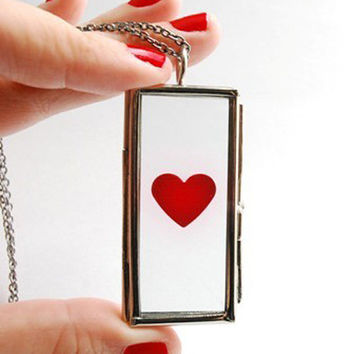 Red Heart Necklace. Glass Locket Necklace Valentine Anniversary Engagement