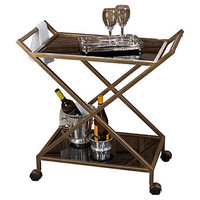 Dessau Home ME3026 Antique Gold Bar Tea Cart with Glass