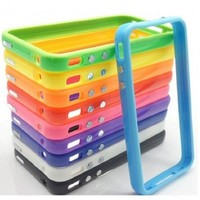 Pack of 10 X TPU Silicone Bumper Frame Case W/ Metal Buttons for iPhone 4 4G 4S - 10Pcs
