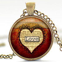 Measure of My Love Necklace, Valentines Day Charm, Love Pendant, Heart Jewelry, Your Choice of Finish (1344)