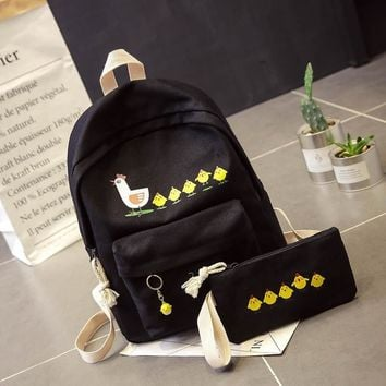 New Cute Cartoon Canvas Backpack Leisure printing Chicken women men shoulder bag Harajuku Academy Male Female Students schoolbag