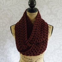 Ready To Ship Infinity Scarf Crochet Burgundy Dark Red Women's Accessories Eternity Fall Winter