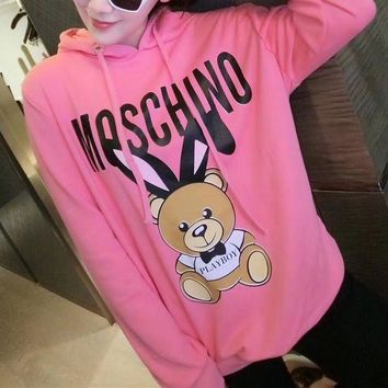 ONETOW Moschino' Women Casual Fashion Letter Cute Cartoon Rabbit Bear Print Hooded Long Sleeve Pullover Sweater Sweatshirt Tops