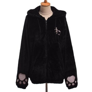 Trendy Winter Jacket Cute Women Cat Ears Fluffy Hooded Coat Embroidered Tail Warm Outwear  AT_92_12
