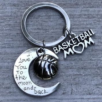 Basketball Mom Love You to the Moon and Back Keychain