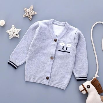 Winter 2018 Newborn Girl Sweaters Cardigans V Neck Long Sleeves Toddler Boys Knit Jackets Tops Autumn Candy Color Infant Clothes