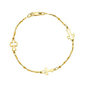 """14K Yellow Gold Cable Chain Bead And Cross Bracelet, 7"""""""