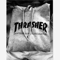 """""""Thrasher""""Thickening hoodie hooded cotton red flame Black letters Grey"""