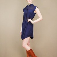 Sheer navy shirt dress with solid block insets at the bust and waist | shopcuffs.com