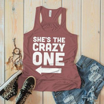 Women's She's The Crazy One Best Friend Cotton Flowy Tank Top Racer Back (Right)