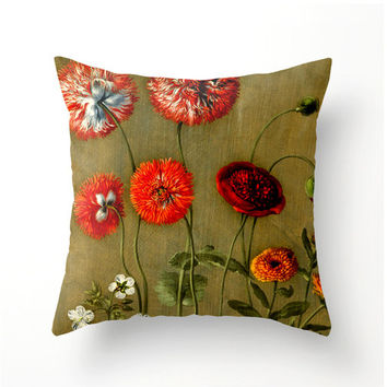 Decorative Square Throw Pillow - Vintage Red Floral design - home decor - floral accent cushions - botanical garden decor