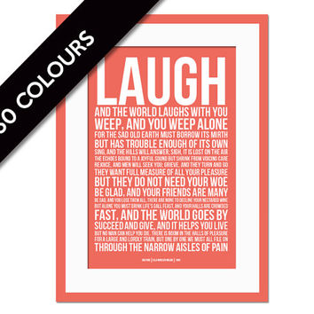 Laugh & the World Laughs With You - Solitude by Ella Wheeler Wilcox - Poetry - Motivational Print - Inspirational Quote - Typographic Print