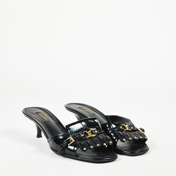 "Louis Vuitton Black Patent Leather Studded Fringe ""Kiltie Logo"" Sandals"