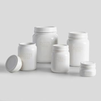 White Ceramic Sugar Canister