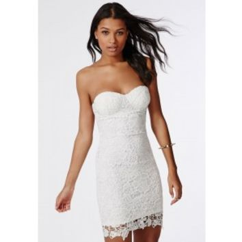 Missguided - Adelle Lace Bandeau Dress Midi White