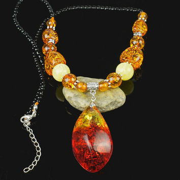 Amazing Tear Drop Baltic Simulated Imitation Amber Beads Chain Bib Pendant Necklace For Women's Girls Statement L61101