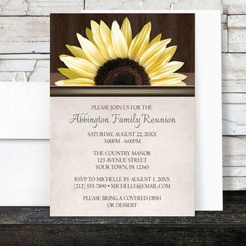 Sunflower Family Reunion Invitations - Country Sunflower Over Wood Rustic - Printed Invitations