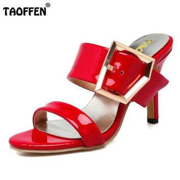TAOFFEN Women Sandals Women Shoes Slip On  Slipper Thin Heels Sandal Buckle Lady Fashion For Holidays Zapatos Mujer Size 34-39