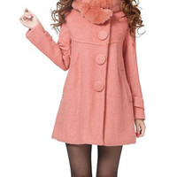 Pink Worsted Long Sleeves Bow Tie Coat