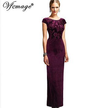 Vfemage Womens Elegant Floral Frill Velvet Formal Evening Party Mother of Bride Special Occasion Bodycon Long Maxi Dress 3963