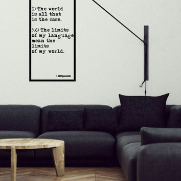 Wittgenstein motivational / inspirational quote vinyl wall decal for your personal minimalistic room decoration