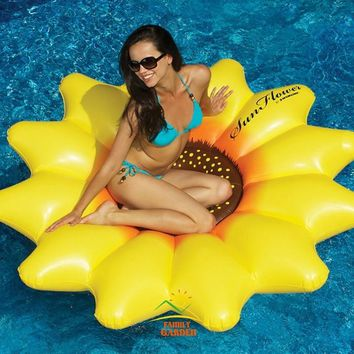 Family Garden Giant Inflatable 72-Inch Sunflower Flower Float Air Mattress Lounger Swim Ring For Women Summer Holiday