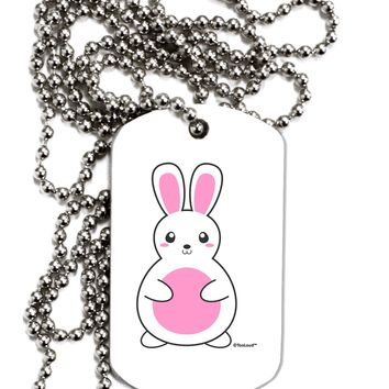 Cute Easter Bunny - Pink Adult Dog Tag Chain Necklace by TooLoud