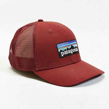 Patagonia P6 Trucker Hat- Red One from Urban Outfitters 4ca63c5a187