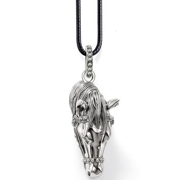 Famous brand vintage men jewelry diy animal horse pendants with 18inch leather rope chain horse pendants men necklace christmas